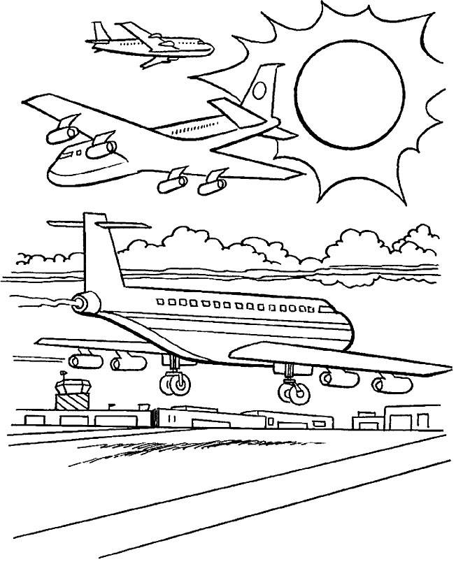 Free coloring and drawings Warplanes at the airport Coloring page