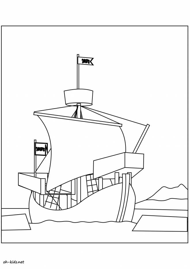 Free coloring and drawings A military sailboat Coloring page