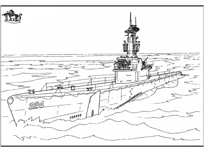 Free coloring and drawings American warship Coloring page