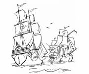 Coloring pages Battle against the Pirate Ship