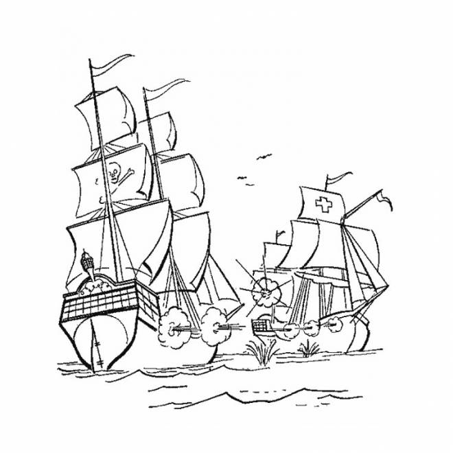 Free coloring and drawings Battle against the Pirate Ship Coloring page