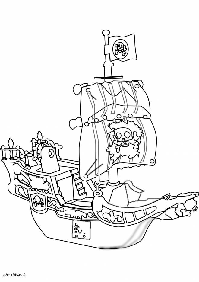 Free coloring and drawings Cartoon pirate ship Coloring page