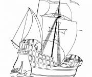 Coloring pages Colored War Sailing Ship