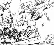 Coloring pages Destroyed warship