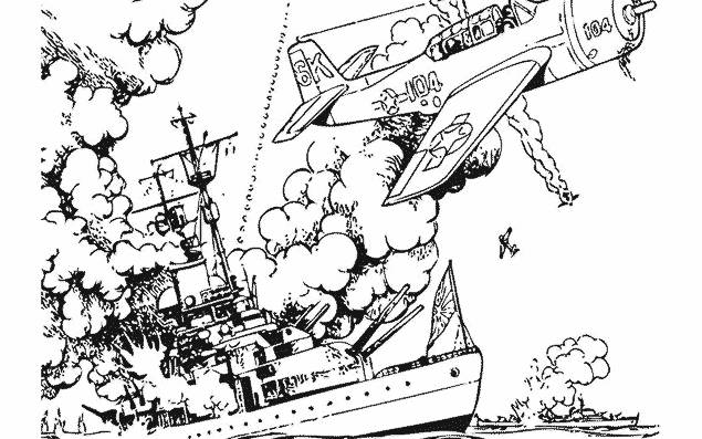 Free coloring and drawings Destroyed warship Coloring page