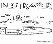 Coloring pages Destroyer Warship