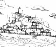 Free coloring and drawings Easy warship Coloring page