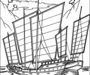 Coloring pages Old military sailboat