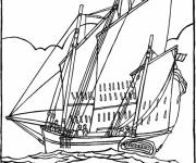 Coloring pages Sailing Pirate Ship