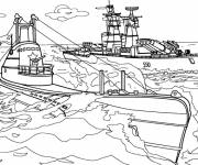 Coloring pages Submarine and warship