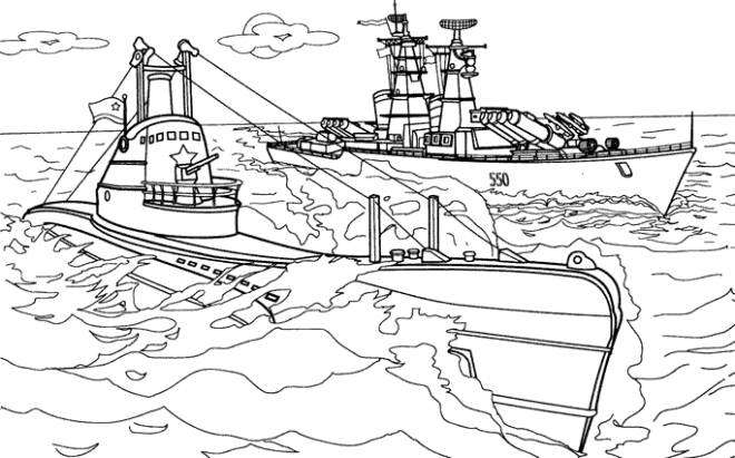 Free coloring and drawings Submarine and warship Coloring page