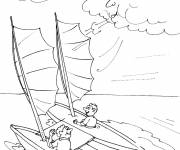 Coloring pages The sailboat and The Wind