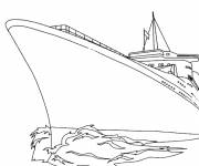 Coloring pages Warship crosses the sea