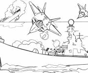 Coloring pages Warship during the Battle