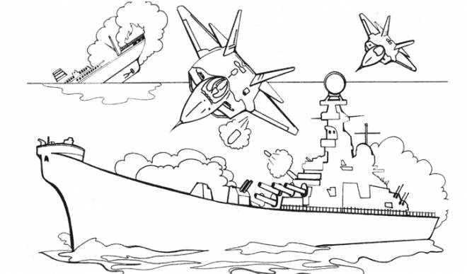 Free coloring and drawings Warship during the Battle Coloring page