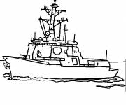 Coloring pages Warship in black and white