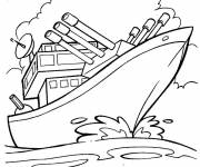 Coloring pages Warship on mission
